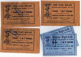 Ticket Cinéma Bruxelles Av Louise 35 - Le Sapho Palace High Life 1930 (3) Et 1931 (2) Rare - Sapho Film - Tickets D'entrée