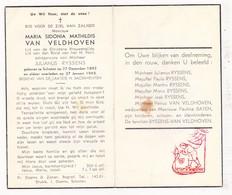 DP Maria S. Van Veldhoven ° Schoten 1892 † 1943 X J. Ryssens / Baten - Images Religieuses