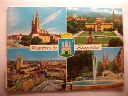 Carte Postale Yougoslavie - Pozdrav Iz Zagreba (Format 10.5 X 15 Couleur Oblitérée 3 Timbres  ) - Yougoslavie