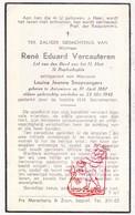 DP René Ed. VerCauteren ° Antwerpen 1887 † 1942 X Louisa J. Snepvangers - Images Religieuses