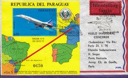 Paraguay 1st Flight Primer Vuelo Inaugural Concorde RIO DE JANEIRO-PARIS EXPRÉS Label 1976 Cover Block Miniature Sheet - Paraguay