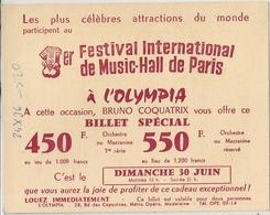 Billet Spécial 1er Festival International De Music-Hall De Paris - Tickets D'entrée
