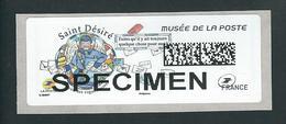 VIGNETTE LISA 2 - 2018 - SAINT DESIRE - MUSEE DE LA POSTE - MENTION SPECIMEN - NEUF - 2010-... Vignettes Illustrées