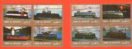 Umm Al - Qiwain 2 Quartine X 4 Fb Treni Treno Trains Züge  1973 - Umm Al-Qiwain