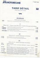 Doc  Motobecane  Tarif Detail  01.08.1980 Velo Solex - France