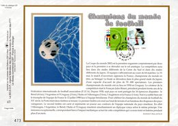 """"""" CHAMPIONS DU MONDE DE FOOTBALL """" Sur Feuillet CEF N°té En SOIE De 2002 N° 1596s N° YT 3483 3484 Parfait état FDC - Andere"""