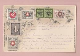 AK Motiv Briefmarken Schweiz Ges 03.01.1908 Bex Verlag Menke-Huber - Timbres (représentations)