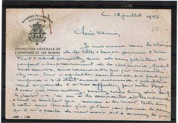 LBR26 - BELGIQUE CARTE A EN TETE MINISTERE DE LA DEFENSE NATIONALE INSP. GEN. INFANTERIE ET BLINDES ECRITE EN 1946 - Autres