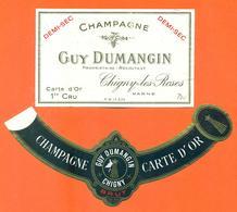 étiquette + Collerette De Champagne Demi Sec Guy Dumangin à Chigny Les Roses - 75 Cl - Champagne