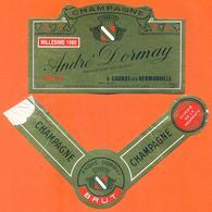 étiquette + Collerette De Champagne Brut Millésime 1988 André Dormay à Cauroy Les Hermonville - 75 Cl - Champagne