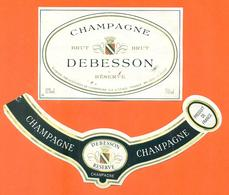 étiquette + Collerette De Champagne Brut Debesson à Congy - 75 Cl - Champagne