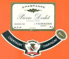 étiquette + Collerette De Champagne Brut Pierre Dedet à Vaudemange - 75 Cl - Champagne