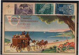 LBR26 - ITALIE CP EXP. PHIL. SAN REMO MARS 1947 - Expositions Philatéliques