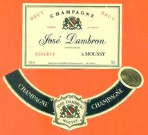 étiquette + Collerette De Champagne Brut Réserve José Dambron à Moussy - 75 Cl - Champagne