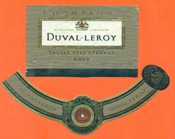 étiquette + Collerette De Champagne Brut Duval Leroy à Vertus - 75 Cl - Champagne