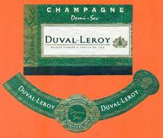 étiquette + Collerette De Champagne Demi Sec Duval Leroy à Vertus - 75 Cl - Champagne