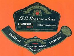 étiquette + Collerette De Champagne Brut J C Desmoulins à Saint Martin D'ablois - 75 Cl - Champagne