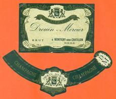 étiquette + Collerette De Champagne Brut Drouin Mercier à Montigny Sous Chatillon - 75 Cl - Champagne