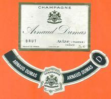 étiquette + Collerette De Champagne Brut Arnaud Dumas à Avize - 75 Cl - Champagne