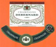 étiquette + Collerette De Champagne Brut Debernard à Reims - 75 Cl - Champagne
