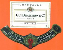étiquette + Collerette De Champagne Brut Guy Demartieux Et Cie à Reims - 75 Cl - Champagne