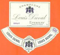 étiquette + Collerette De Champagne Brut Louis Duval à épernay - 75 Cl - Champagne