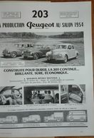 Voitures Peugeot 203, Publicité Papier, 1954 - - Publicités