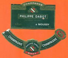 étiquette + Collerette De Champagne Brut Philippe Dabot à Moussy - 75 Cl - Champagne