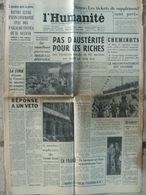 Journal L'Humanité (21 Août 1957) Pas D'austérité Pour Les Riches - H Alleg - Logements Insalubres - Journaux - Quotidiens