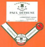 étiquette + Collerette De Champagne Brut Paul Déthune à Ambonnay - 75 Cl - Champagne