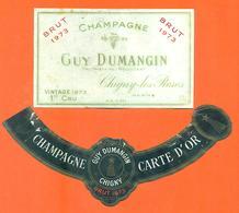 étiquette + Collerette De Champagne Brut 1973 Guy Dumangin à Chigny Les Roses - 75 Cl - Champagne