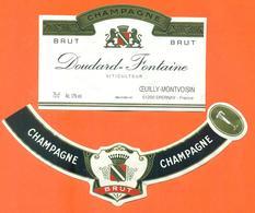 étiquette + Collerette De Champagne Brut Doudard Fontaine à Oeuilly Montvoisin - 75 Cl - Champagne