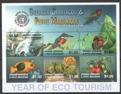 X826 GRENADA CARRIACOU & PETITE MARTINIQUE ECOTOURISM ECO TOURISM BIRDS BUTTERFLIES 1KB MNH - Vögel