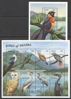 X827 UGANDA FAUNA BIRDS OF UGANDA 1KB+1BL MNH - Vögel