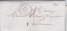 Lettre 1847 Finistère De Lambezellec A Landerneau Cachet Depart Brest De Maitre Faque A Mr Durand - 1849-1876: Classic Period
