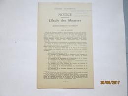 NOTICE CONCERNANT LES ECOLES DES MOUSSES - Livres