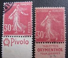 R1680/262 - 1924 - TYPE SEMEUSE - N°191c (*) BdF + ☉ BdF - Cote : 10,00 € - France