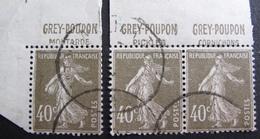 R1680/263 - 1924 - TYPE SEMEUSE - N°193a ☉ CdF + ☉ BdF (PAIRE) - Cote : 27,00 € - France