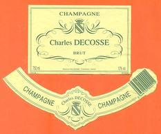 étiquette + Collerette De Champagne Brut Charles Decosse à Bouzy - 75 Cl - Champagne