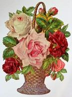 Grande Chromo Image Découpis Fleurs Bouquet De Roses Gaufré - Flowers