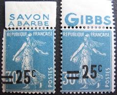 R1680/264 - 1926 - TYPE SEMEUSE - N°217bh NEUF** + N°217bc NEUF** (Charnières Sur BdF) VARIETE ➤ Surcharge à Cheval - France
