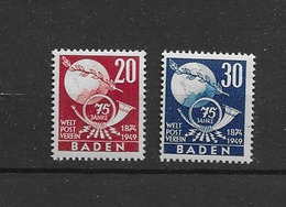 1949 MNH Baden,Michel 56-57 Postfris** - Zona Francesa