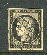 Superbe N° 3 Noir Sur Jaune - 1849-1850 Ceres