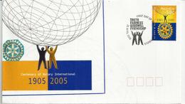 "AUSTRALIE. Centenaire Du Rorary International. FDC ""Truth,Fairness,Goodwill,Friendship"" Sydney 2005 - Rotary, Lions Club"