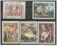 "FR YT 1640 1641 1652 1653 1654 "" Série Artistique "" 1970 Neuf** - France"