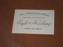 """CARTE De VISITE """"VINS & SPIRITUEUX En Gros"""" Emile HESLING à BAR-LE-DUC - Cartes De Visite"""