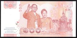 Tailandia 100 Baht 2010 UNC FdS Thailand COMM 60th Royal Wedding - Sign. Jatikwanich, Watanakes King Rama IX - Thaïlande