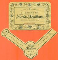 étiquette + Collerette De Champagne Brut Nicolas Feuillattee à Chouilly - 75 Cl - Champagne