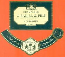 étiquette + Collerette De Champagne Brut J Faniel Et Fils à Cormoyeux - 75 Cl - Champagne