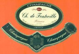étiquette + Collerette De Champagne Brut CH De Fonteville à Bouzy - 75 Cl - Champagne